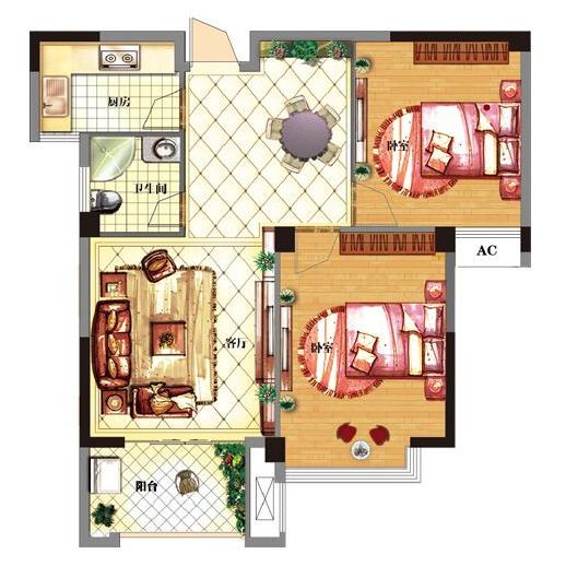 B2 两室两厅一厨一卫