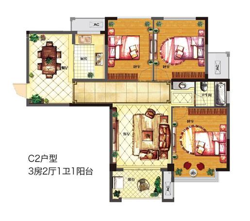 C2 三室两厅一厨一卫