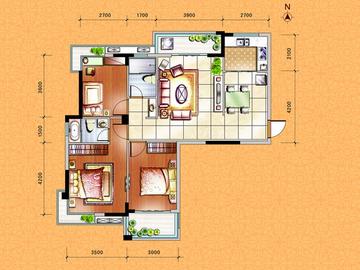 G1户型三房二厅二卫二阳台