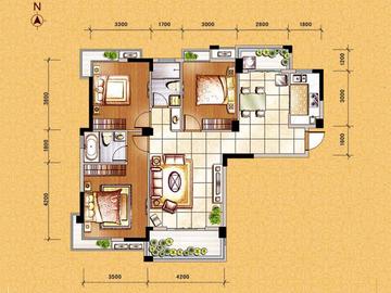 G2户型三房一厅一卫一阳台