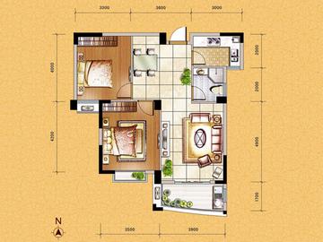 G3户型二房二厅一卫一阳台