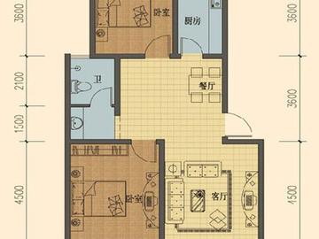 E户型三室两厅一厨一卫