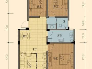 E5户型三室两厅一厨一卫