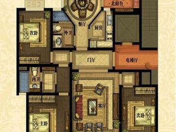 一期3号楼C户型四室两厅一厨一卫