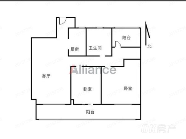 信达城 毛坯三室 阳台超级大 满二年 有钥匙随时看房 采光无遮挡 !